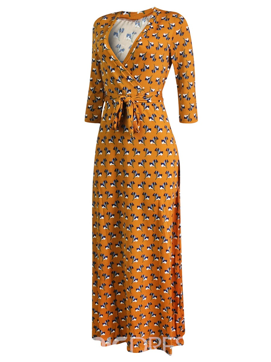 Ericdress Yellow V-Neck Floral Lace-Up Maxi Dress