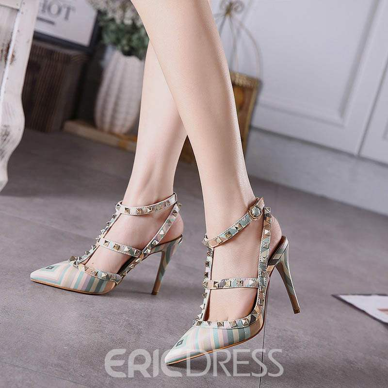 Ericdress Rivet Buckle Strappy Pointed Toe Stiletto Sandals