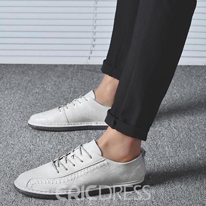 Ericdress Sewing Thread Lace-Up Round Toe Men's Shoes