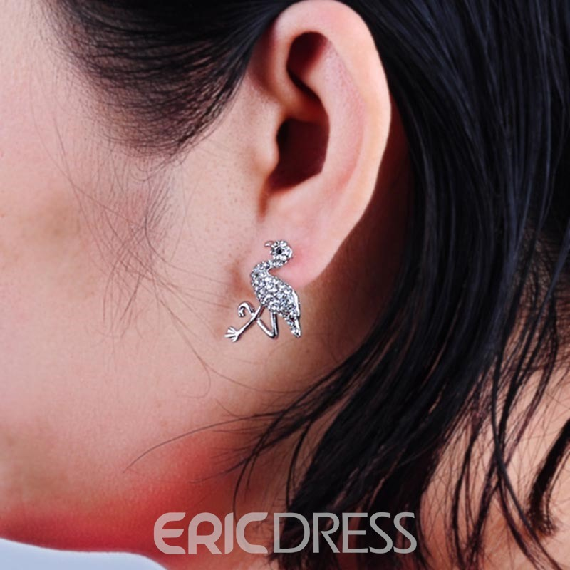 Ericdress Flamingo Diamante Stereoscopic Stud Earring