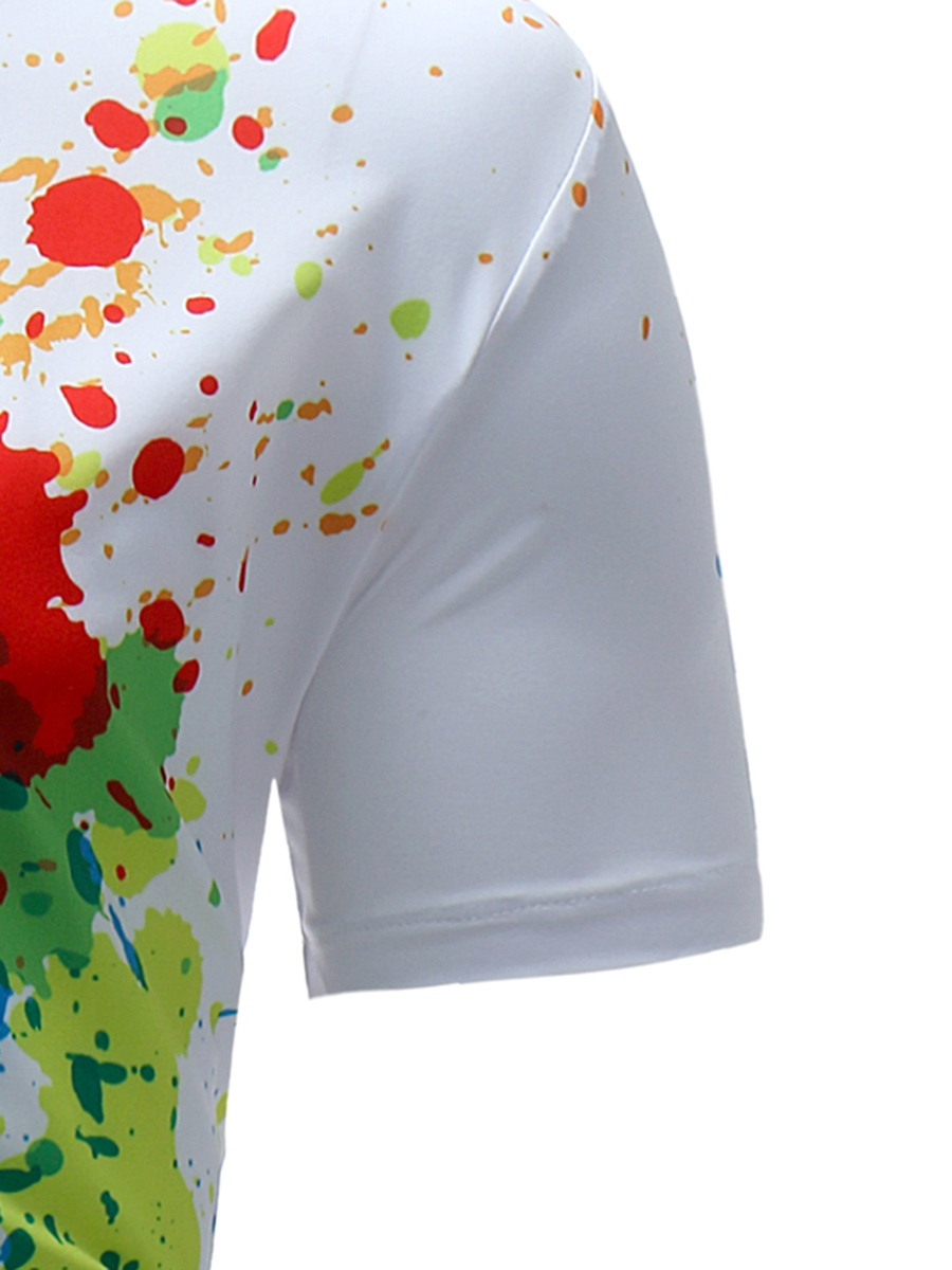 Men's Clothing Tops White Printed Slim Short Sleeve Shirt