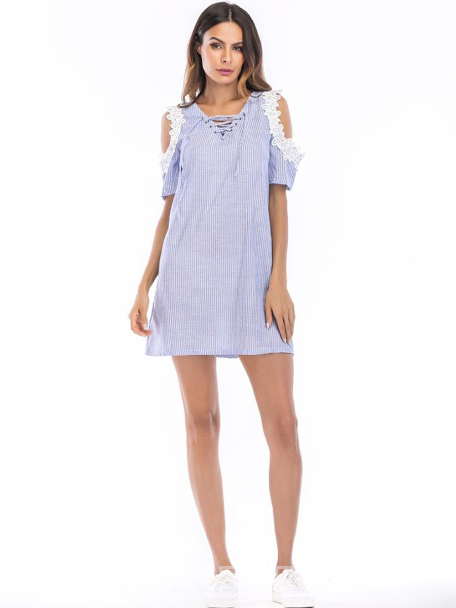 Ericdress Gingham Cold Shoulder Patchwork Lace-Up A-Line Dress