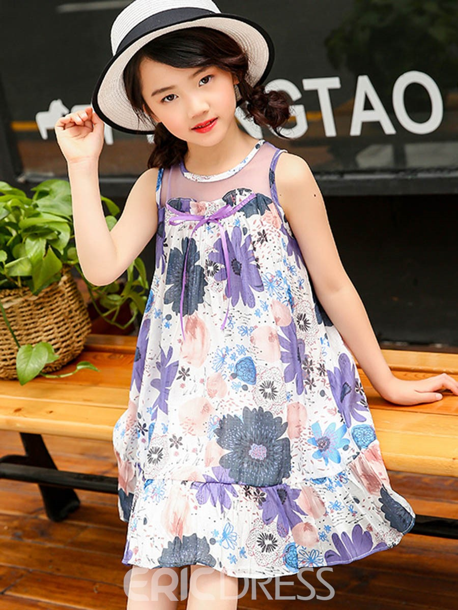 Ericdress Floral Printed Bowknot Sleeveless Girl's Casual Dress