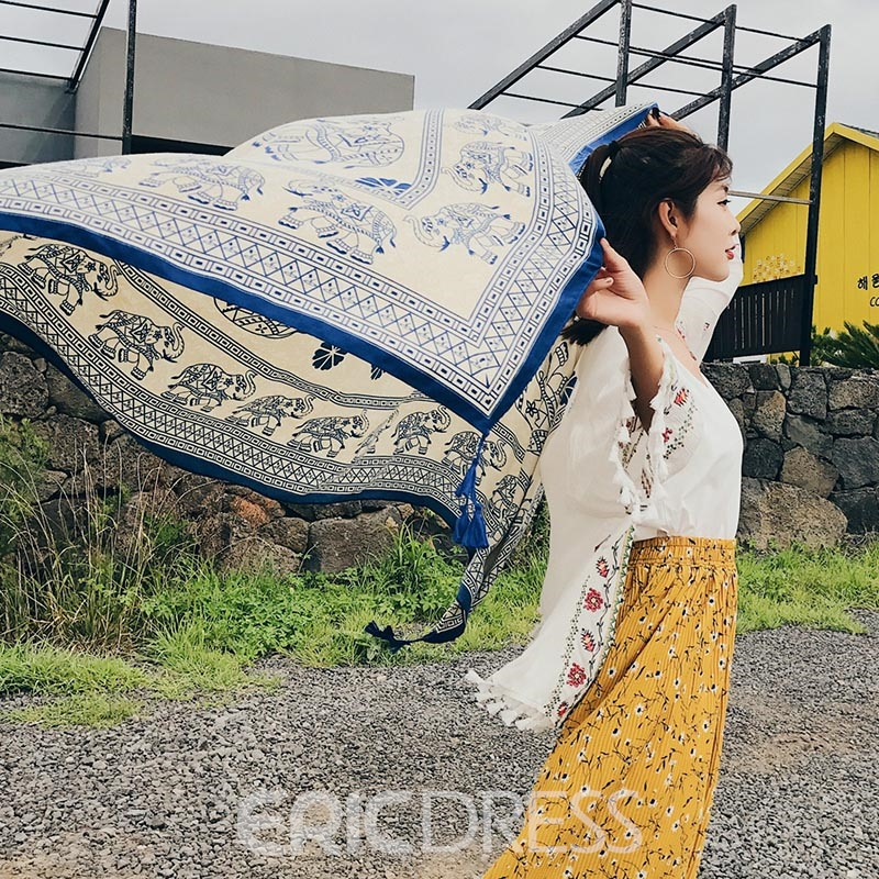 Ericdress Colorful Chiffon Printing Beach Tassel Shawl