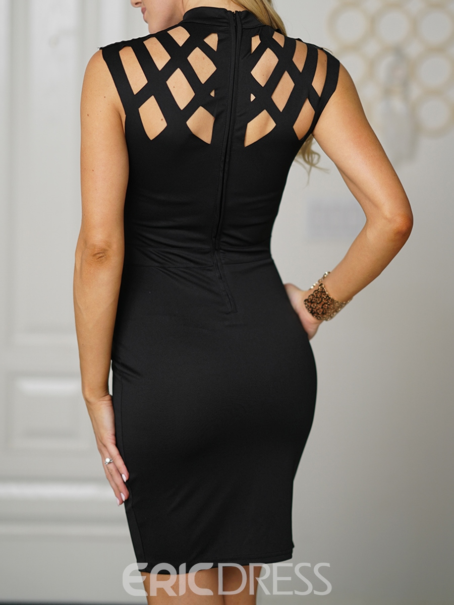 Ericdress Hollow Zipper Stand Collar Bodycon Dress