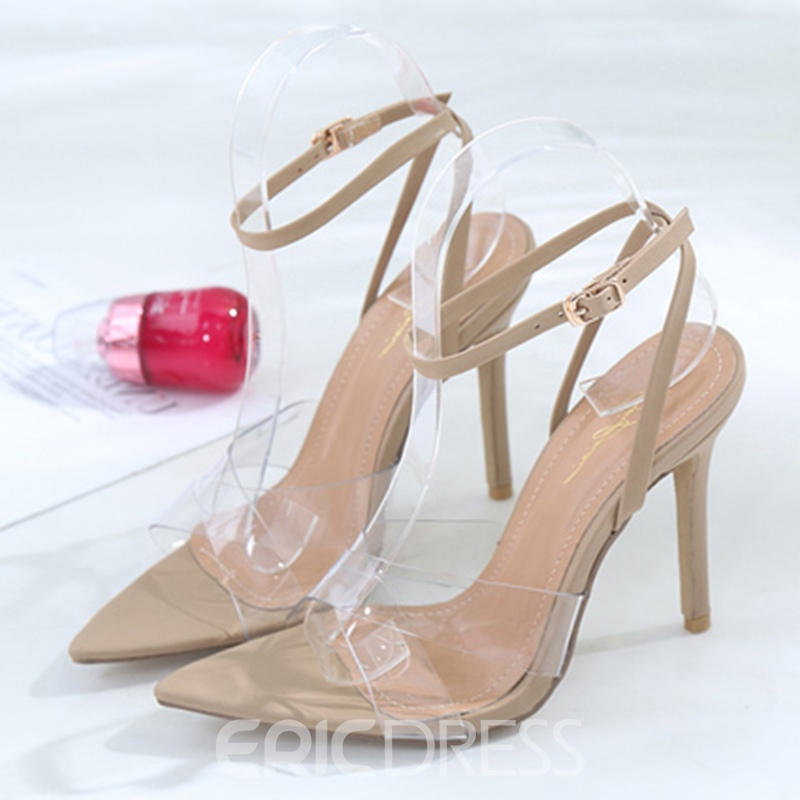 Ericdress Patchwork Line-Style Buckle Stiletto Sandals