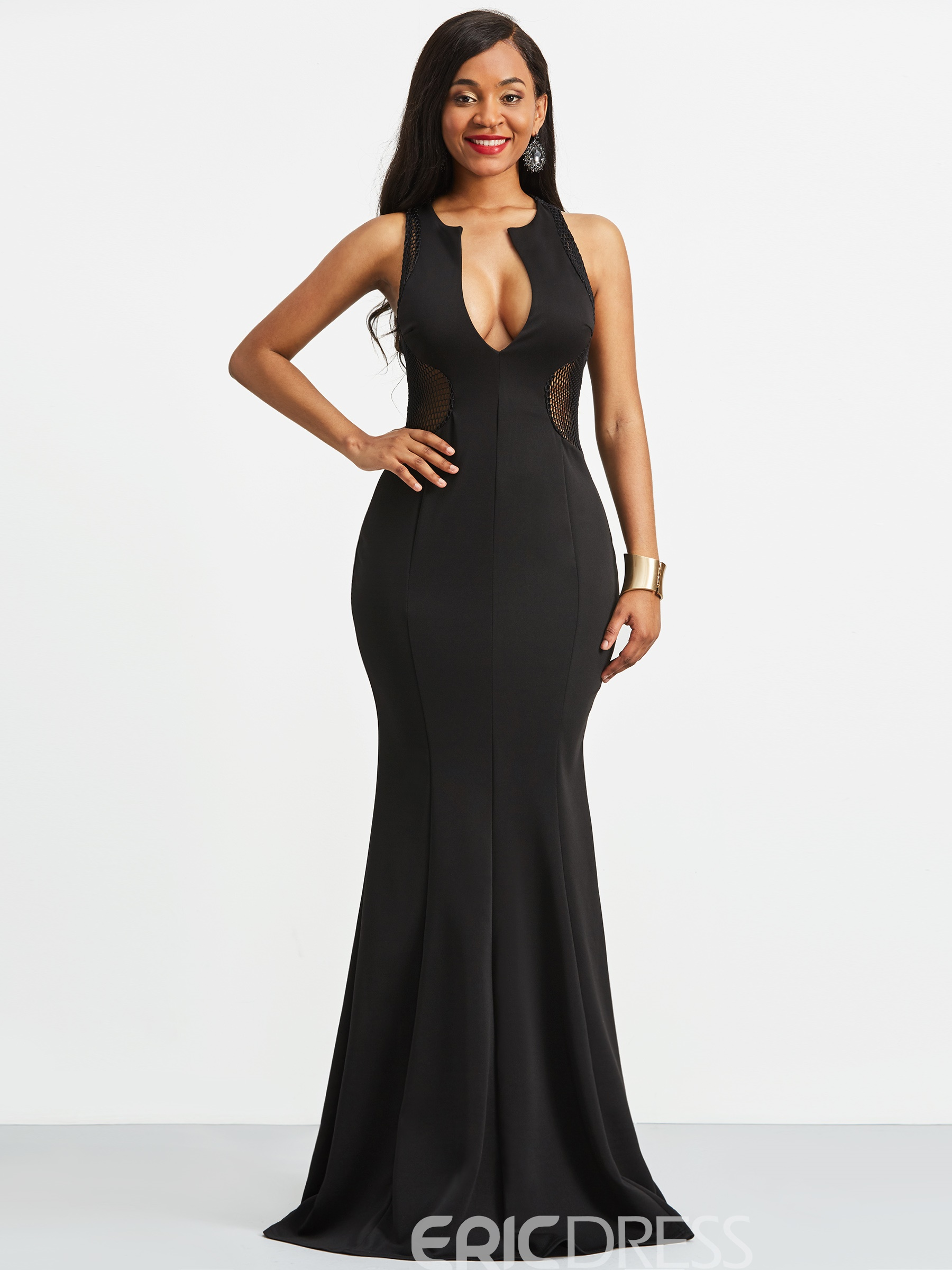 Ericdress V-Neck Mermaid Plain Floor-Length Maxi Dress