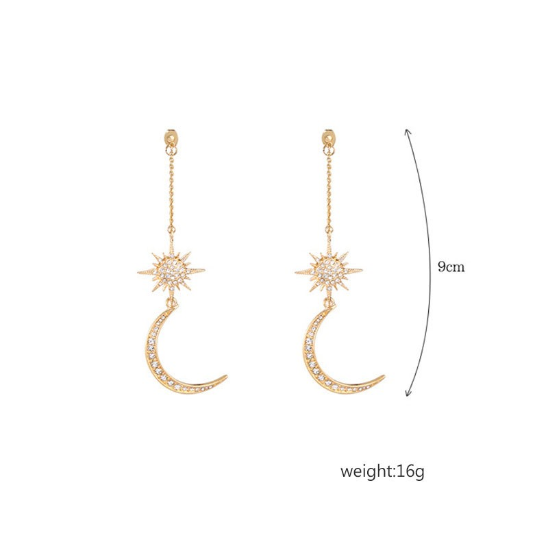 Ericdress Moon&Sun Long Drop Earring