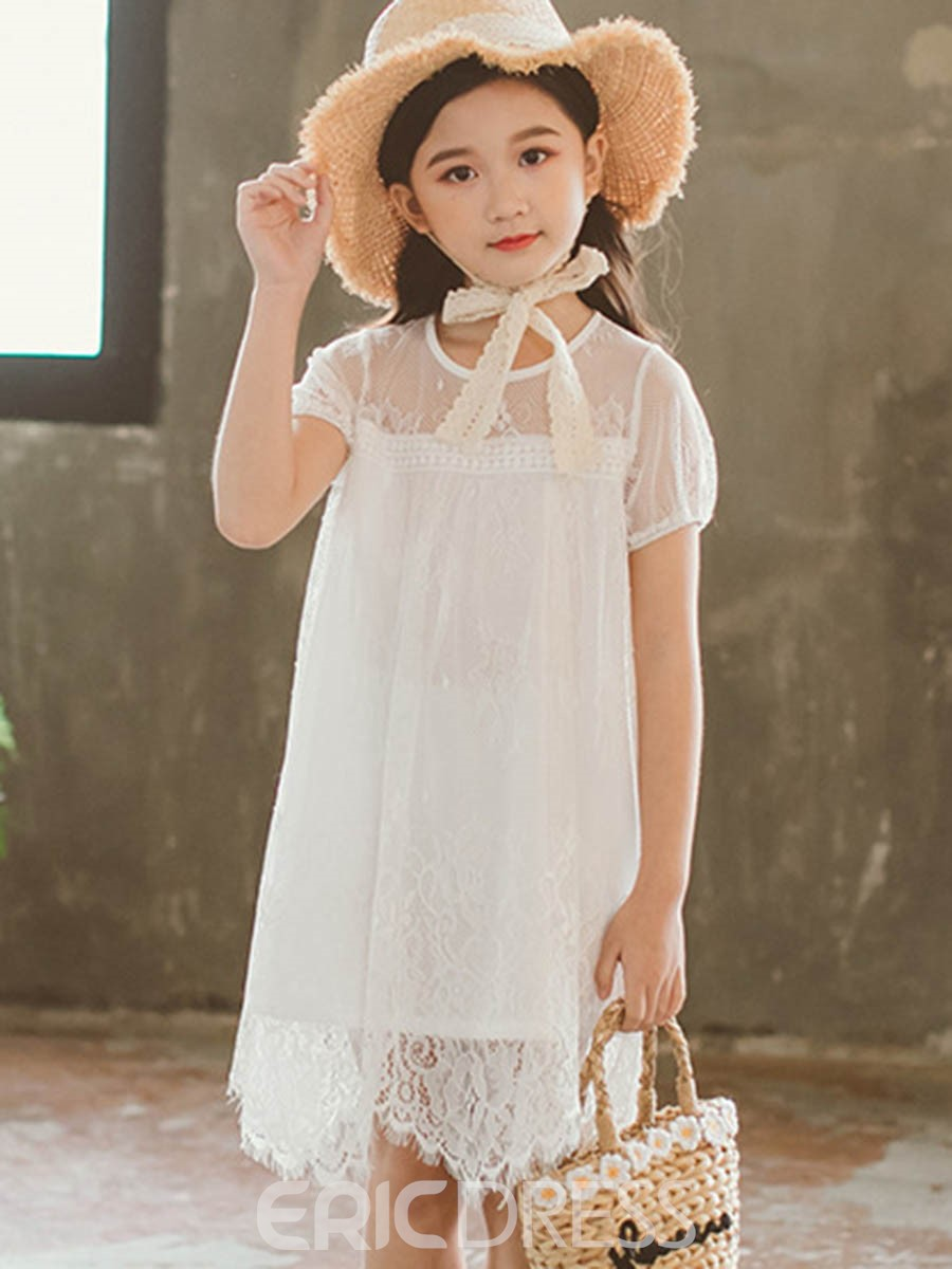 Ericdress Lace Plain Scoop Flower Girl's Dress