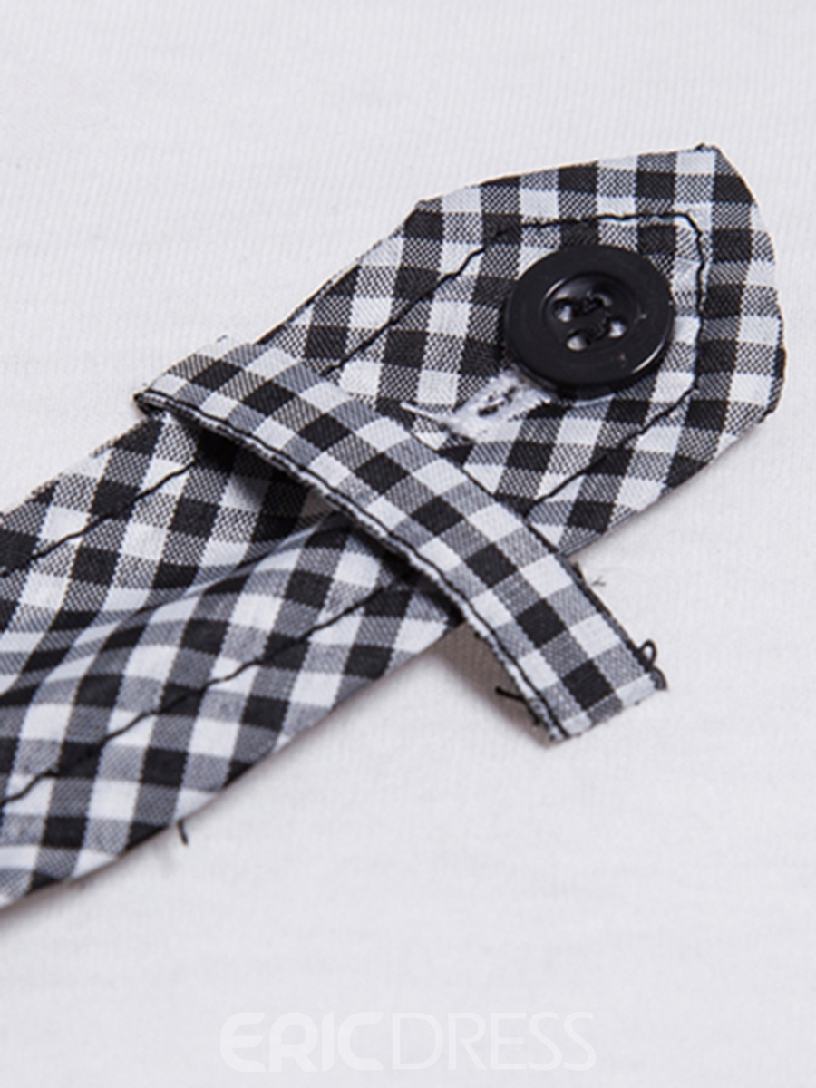 Men's Clothing Tops Plaid Color Block Slim T Shirt