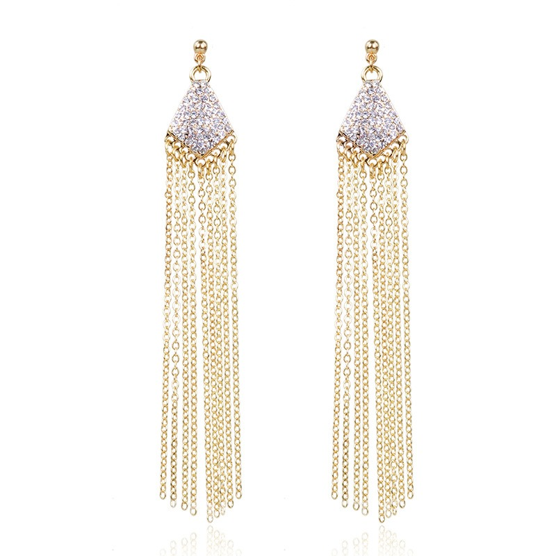 Ericdress Diamante Long Tassels Drop Earring