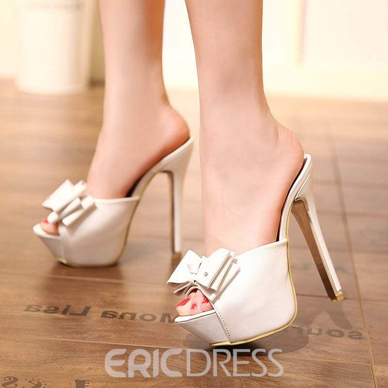 Ericdress Bowknot Platform Slip-On Stiletto Heel Mules Shoes