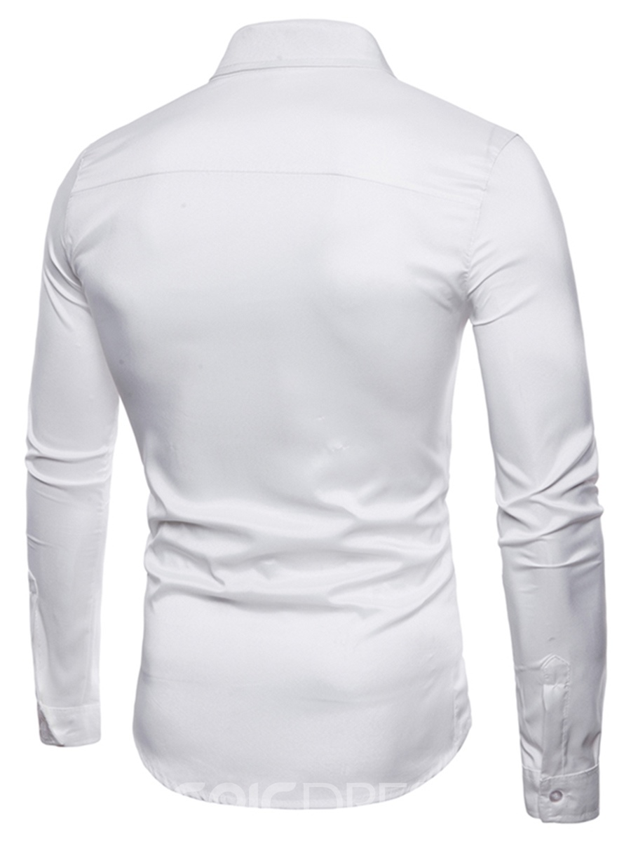 Ericdress Plain Slim Fit Long Sleeve Mens Casual Dress Shirts