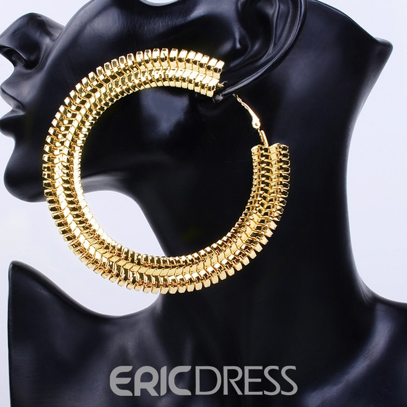 Ericdress Big Golden Hoop Earring
