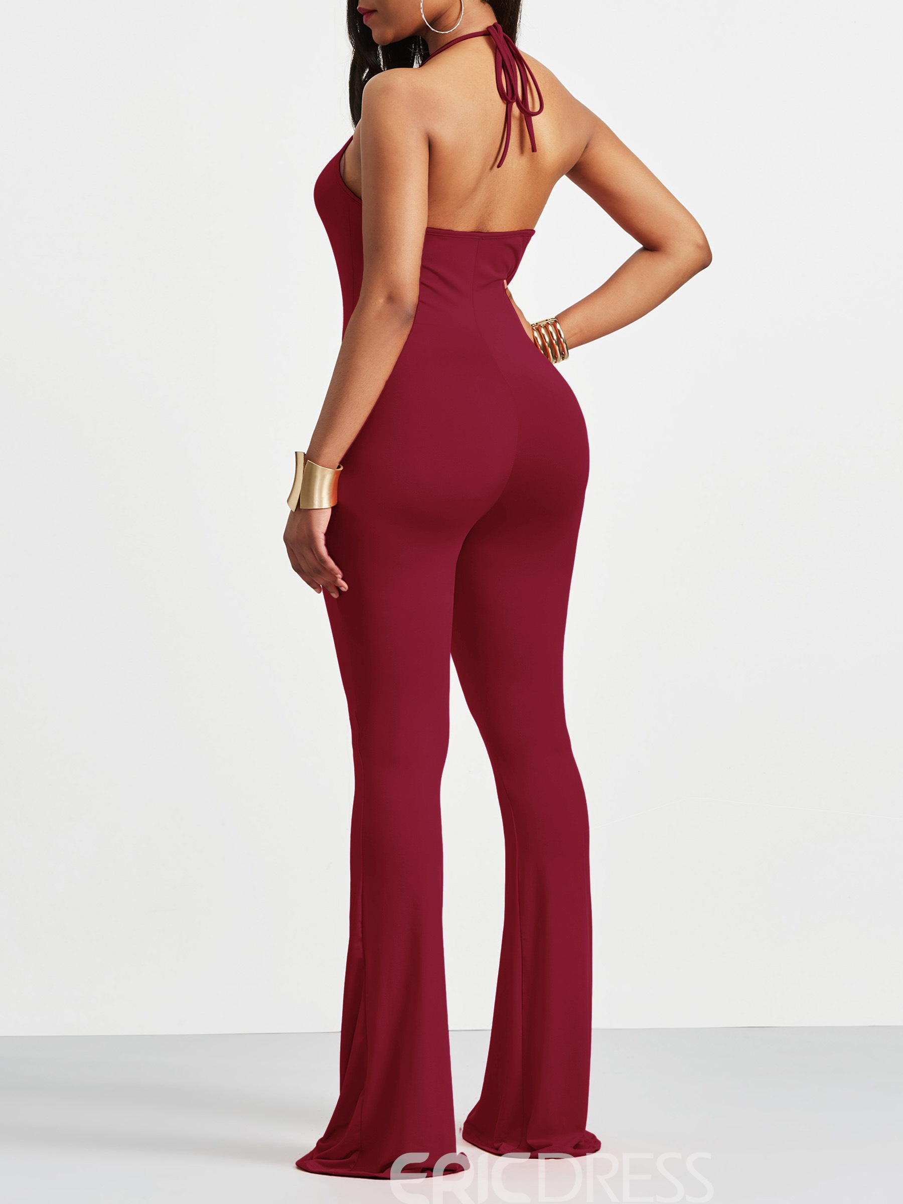 Ericdress Skinny Backless Plain Women's Jumpsuit