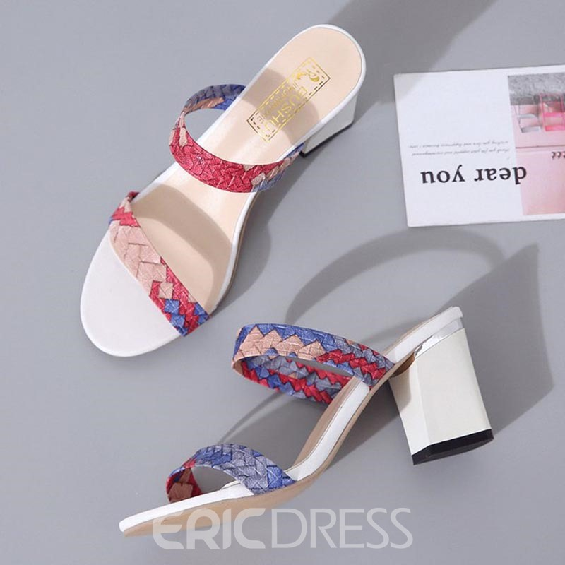 Ericdress Plaid Flip Flop Chunky Heel Mules Shoes