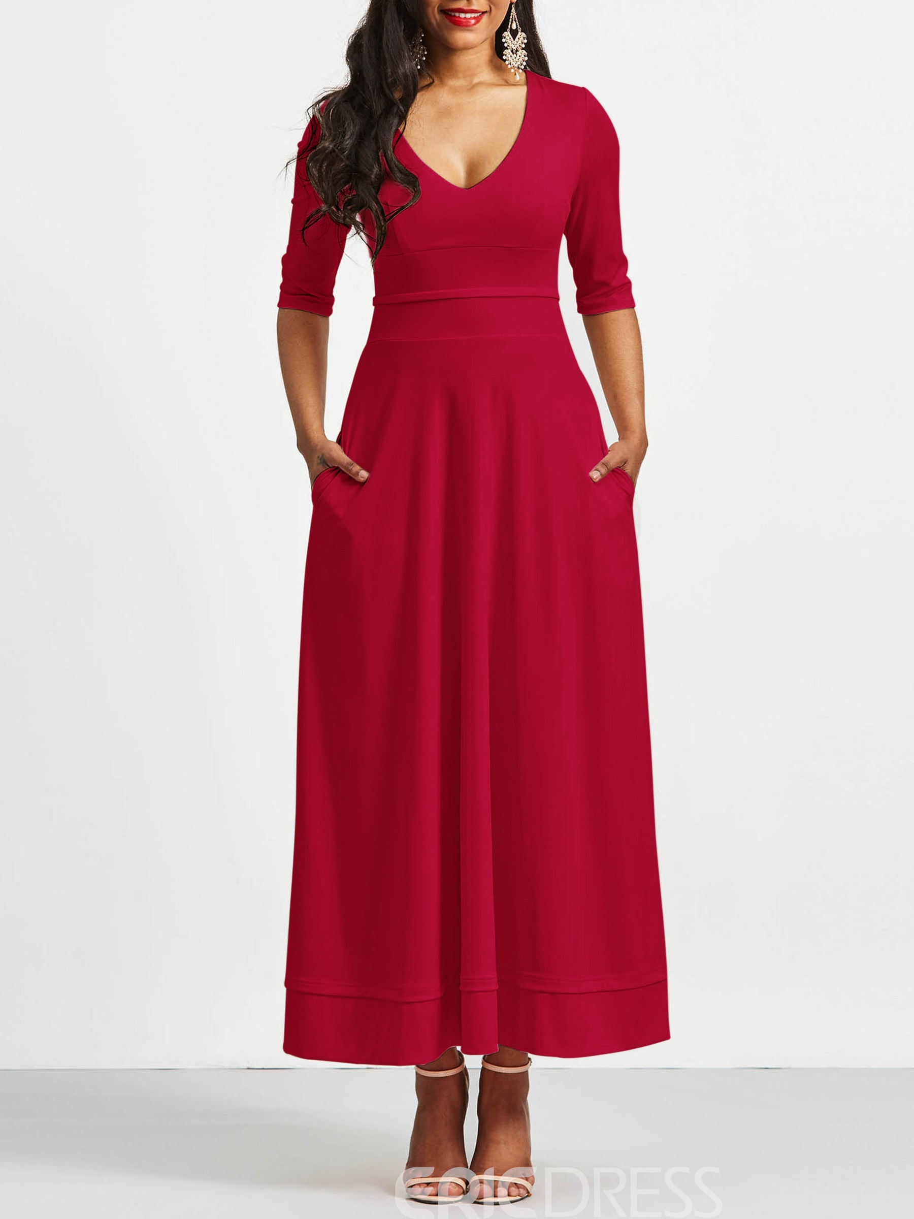 Ericdress V-Neck Half Sleeves Pocket Maxi Dress