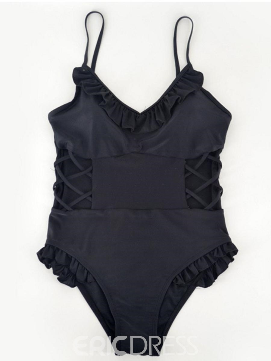 Ericdress Black Plain Hollow Ruffles One Piece Bathing Suits