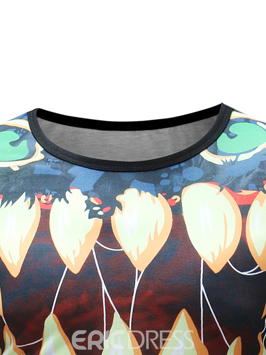 Ericdress Print Color Block Loose Mens Scoop T Shirt
