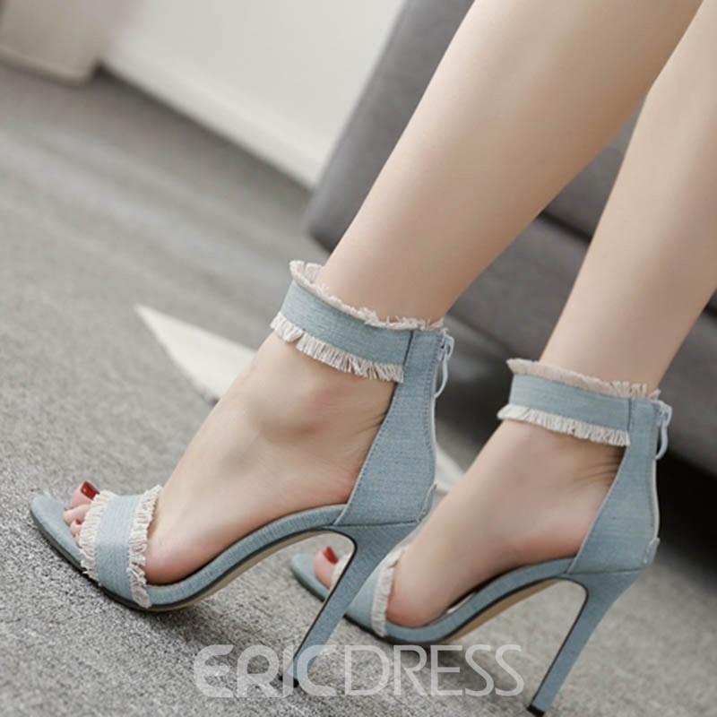 Ericdress Cloth Fringe Line-Style Buckle Stiletto Sandals