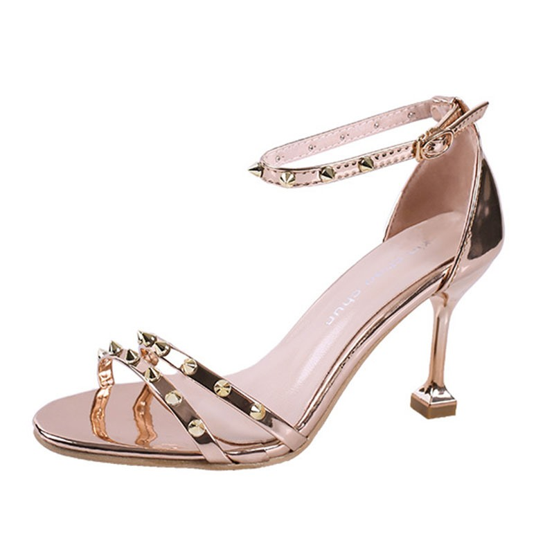 Ericdress Chic Rivet Line-Style Buckle Stiletto Sandals