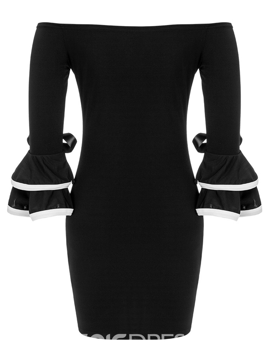 Ericdress Bowknot Slash Neck Flare Sleeve Bodycon Dress