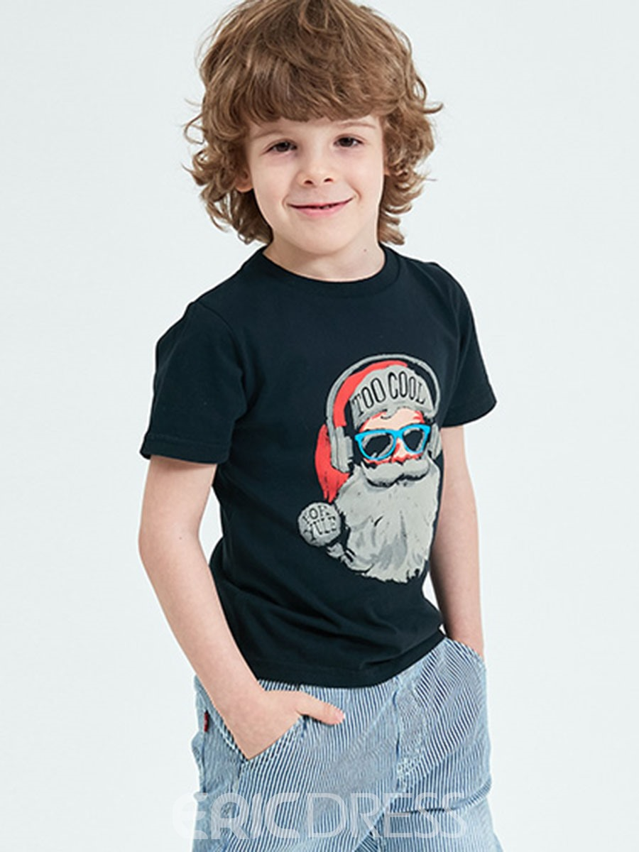 Ericdress Cartoon Printed Slim Boy's Black T Shirt