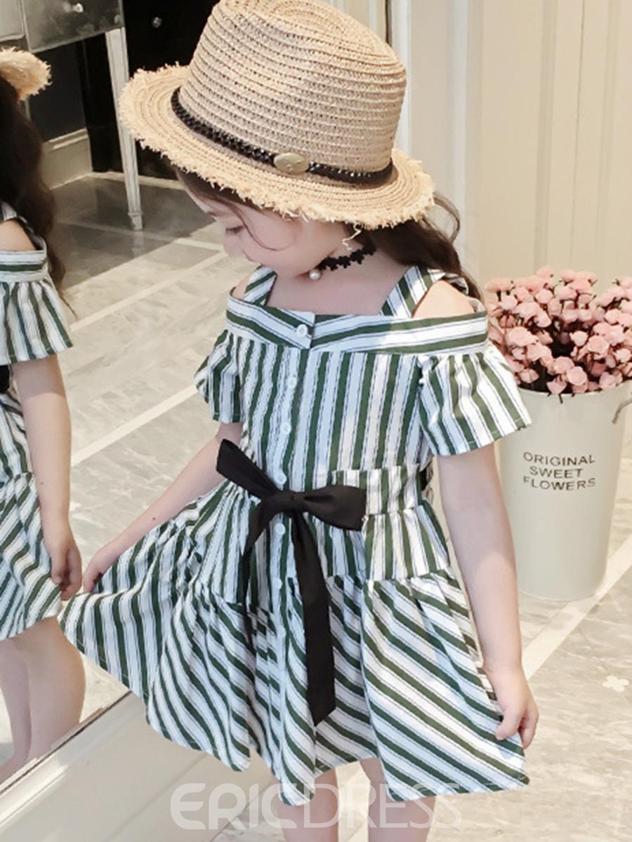 Ericdress Stripe Lace up Button Spaghetti Strap Girl's Dress