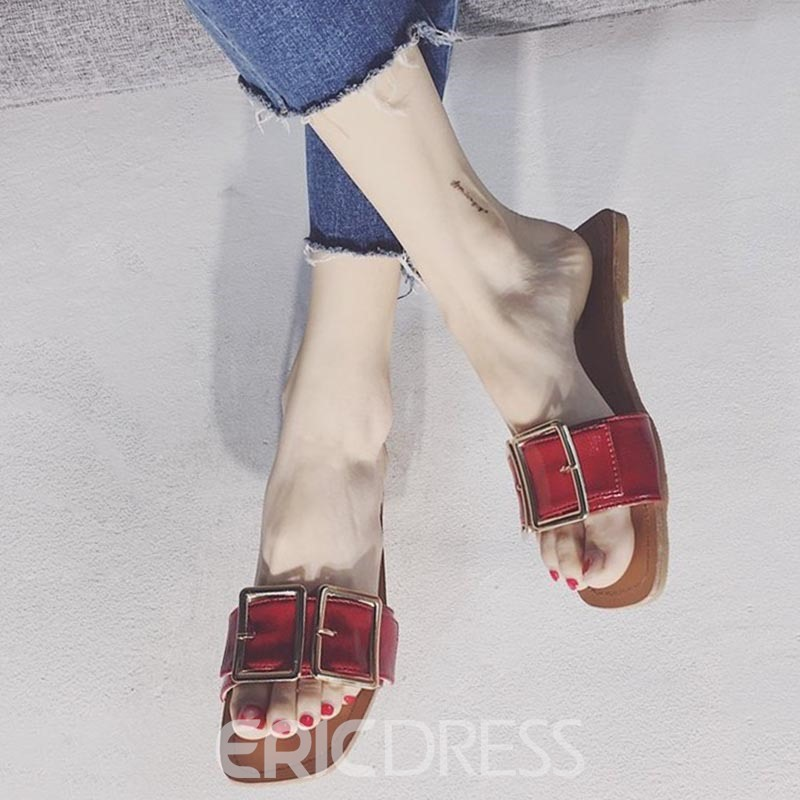 Ericdress PU Buckle Slip-On Block Heel Mules Shoes