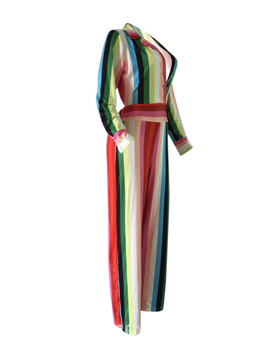 Ericdress Stripe Print Button Women's Jumpsuit
