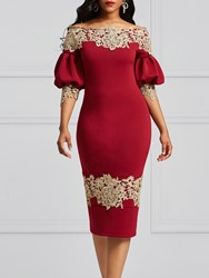 Ericdress Burgundy Lantern Sleeve Floral Backless Bodycon Dress фото