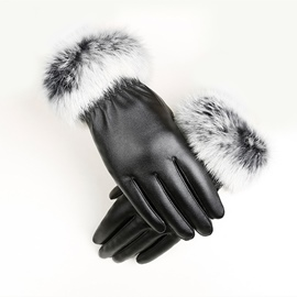 Ericdress Leather Elegant Cony Hair Winter Windproof Lady Gloves