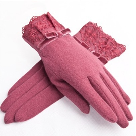 Ericdress Keep Warm Velvet Bow Lady Gloves