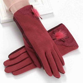 Ericdress Winter Lace Pompon Cotton Lady Gloves
