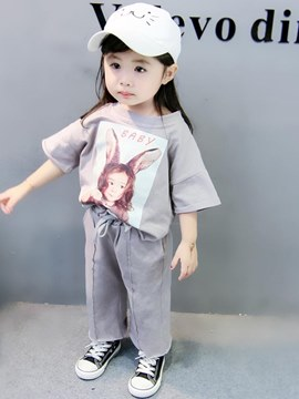 Ericdress Printed T Shirts & Pants Baby Girl's Casual Outfits