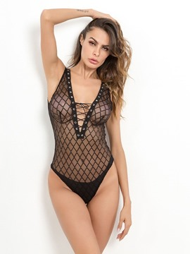Ericdress Fishnet Front Lace-up Sexy Teddy Bodysuit