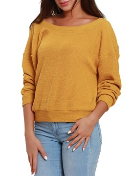 Ericdress Plain Loose Roll-up Long Sleeves Knitwear
