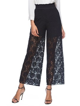 Ericdress Lace High-Waist Wide Legs Women's Pants