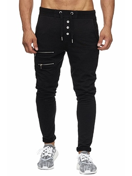 Ericdress Plain Zipper L ace Up Mens Casual Pants