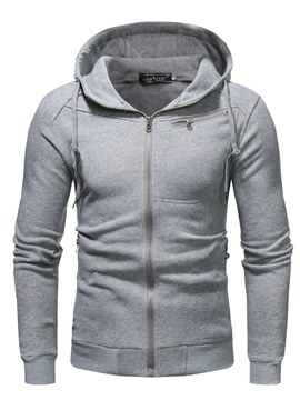 Ericdress Plain Zipper Hooded Mens Casual Cardigan Hoodies