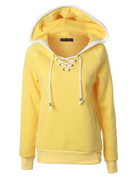 Ericdress Color Block Tie Front Slim Raglan Sleeve Hoodie