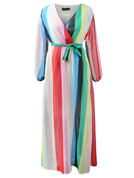 Ericdress Ankle-Length Stripe Women's Dress