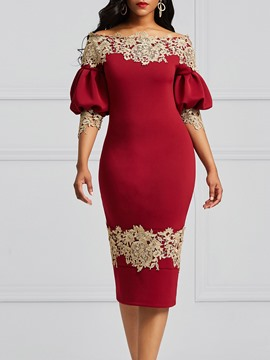 Ericdress Burgundy Lantern Sleeve Floral Backless Bodycon Dress
