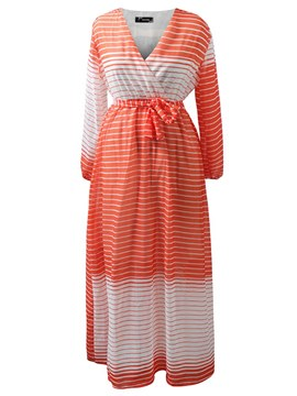 Ericdress Stripe Ankle-Length Lace-Up Women's Dress