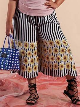 Ericdress Plus Size Stripe Loose Print High Waist Wide Legs Casual Pants