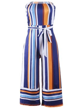 Ericdress Off Shoulder Stripe Wide Legs Jumpsuits