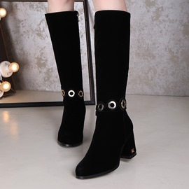 Ericdress Sequin Suede Chunky Heel Knee High Boots