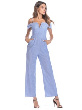Ericdress Strap Stripe Slim Women's Jumpsuits