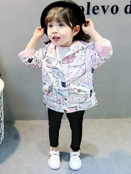 Ericdress Cartoon Printed Hooded Mid-Length Baby Girl's Outerwears Coats