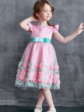 Ericdress Floral A-Line 3D Printed Bowknot Girl's Princess Ball Dress